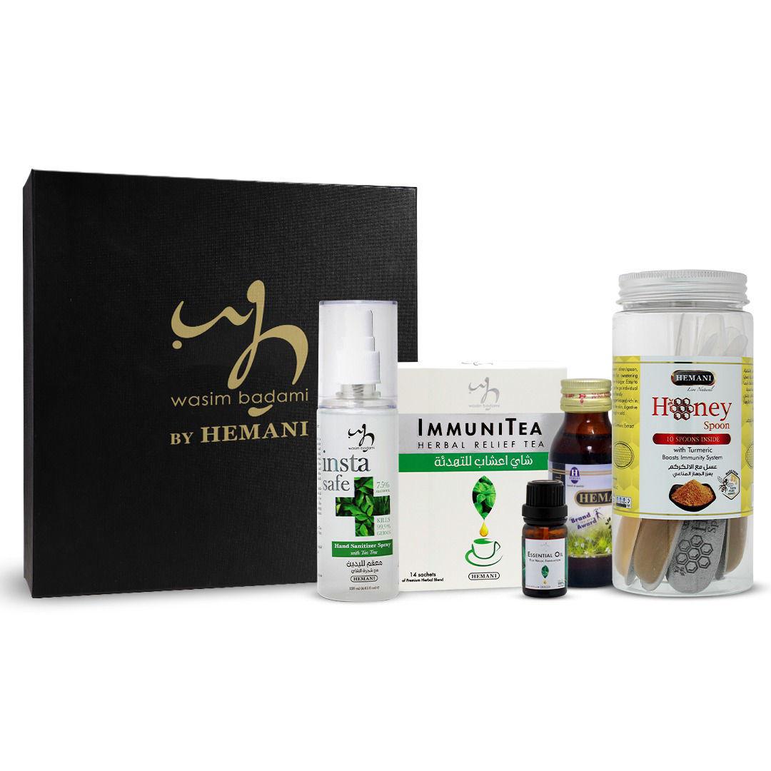 WB by HEMANI wellness kit immunity edition with hemani honey spoon, immunitea, insta safe sanitizer spray, black seed oil