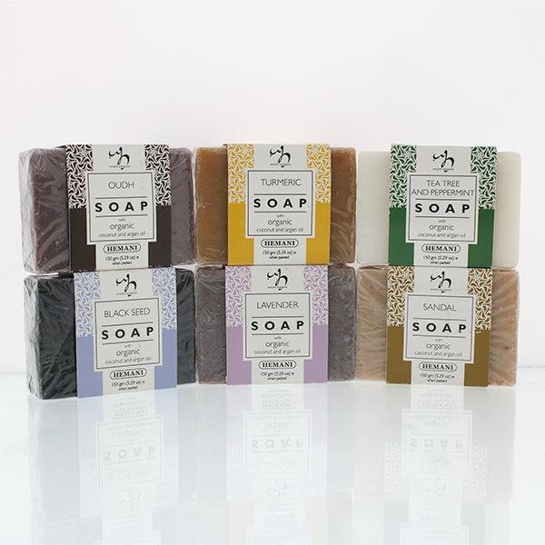 WB by Hemani Herbal Soap Bar with Organic Argan Oil & Organic Coconut Oil - Black Seed, Lavender, Oud, Sandal, Tea Tree & Peppermint, Turmeric