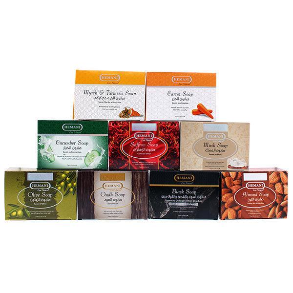 hemani herbal soap 75g saffron, shea butter with aloe vera, musk, oudh, olive, black seed, turmeric, neem, sandalwood,turmeric musk, blacksoap, cucumber, carrot